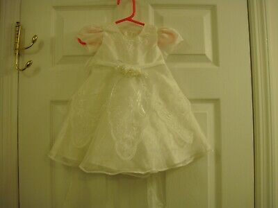 Baby Girls Victoria Kids Cream Flower Girl Christening Dress Size 12 Month Small