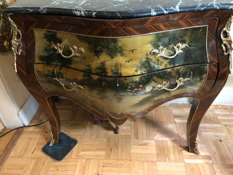 Exceptional Louis Xl Style Painted Bonbe Marble Top Commode Chest