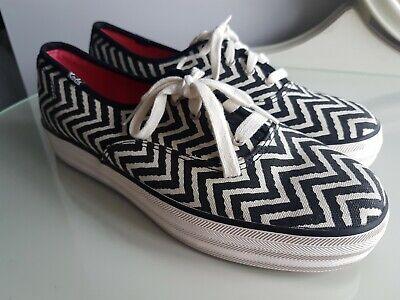 Womens Black & White Zig Zag Flatform Keds Sneakers Plimsolls UK 6.5 EU40