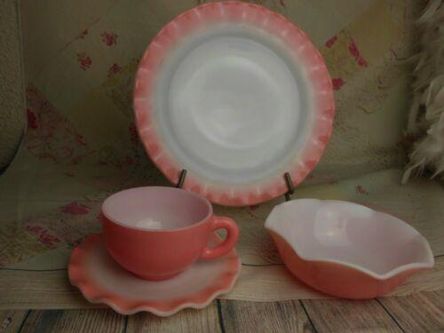 Vintage HAZEL ATLAS Crinoline Pink Dinner Plate, Cup, Saucer & Bowl 4 Piece
