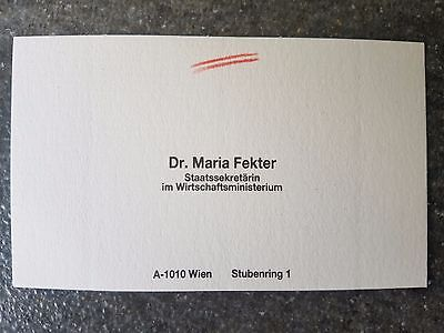 Visitenkarte ohne Orig.AG Maria Fekter AUT ex. Staatssekretärin Rarität!