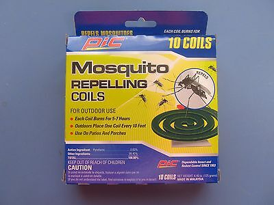 PIC Mosquito Coils Bug Repellant Burns 5-7 Hours Pack of 10  #C-10-12 NEW