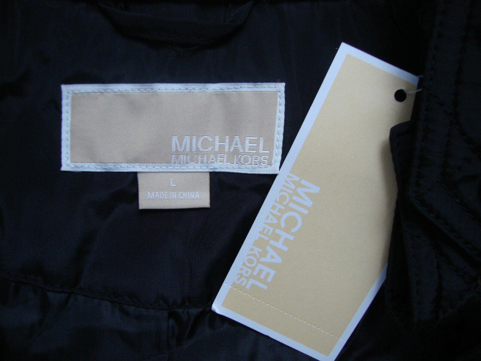 michael kors jacke damen steppjacke bergangsjacke schwarz gr l neu mit etikett eur 159 99. Black Bedroom Furniture Sets. Home Design Ideas
