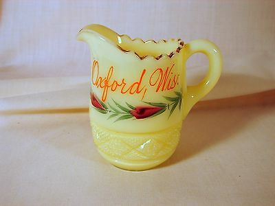 Old Oxford Wisconsin, WI, Custard Glass 3in Yellow Souvenir Pitcher, Excellent C