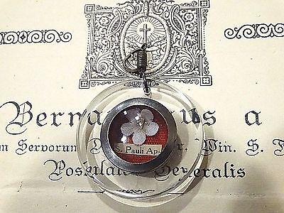 Catholic Holy Papal Relic St. Paul Ap. Flower Reliquary with Documentation