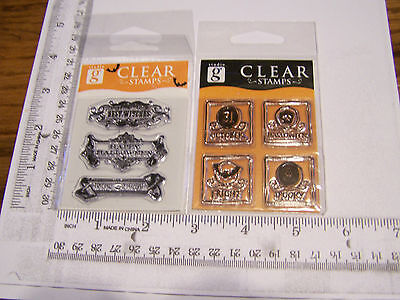 HALLOWEEN ORNATE HEADINGS FRAMED SQUARES STUDIO G  CLEAR RUBBER STAMPS RETIRED - Studio G Halloween Clear Stamps