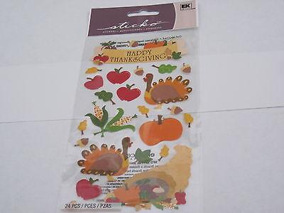Scrapbooking Crafts Sticker Pack Stickos Happy Thanksgiving Turkey Pumpkin Corn (Pumpkin Crafts)