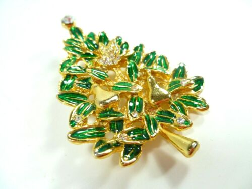 Unsigned Vintage Estate Rhinestone Brooch Pin Christmas Tree Dove Pears Holiday