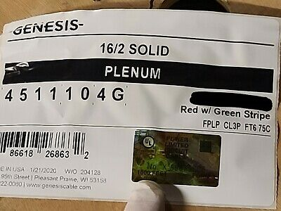 Honeywell Genesis Cable 4511 162c Solid Plenum Fire Alarm Wire Redgreen 100ft