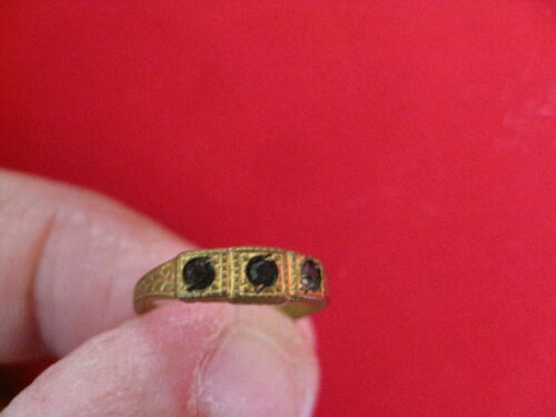 Victorian Brass Glass Baby Ring size 1/2