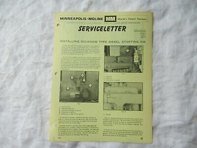 Minneapolis Moline G1000 M670 G900 Tractor Diesel Starting Newsletter Brochure