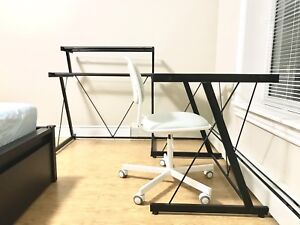 L Shape Study Desk with Glass Top