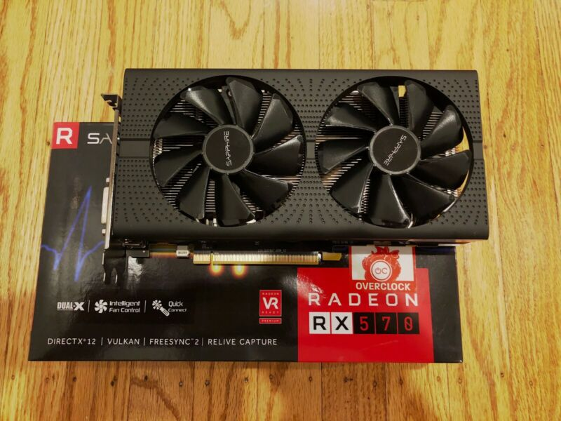 Sapphire PULSE Radeon RX 570 GDDR5 4GB Graphics Card, Cleaned, Tested!