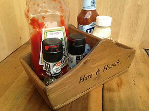 EDINBURGH CONDIMENT AND CUTLERY HOLDER,WOODEN TABLE BASKET,BOX,CADDY,SAUCE BOX