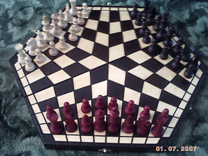 3 Three Player Man Person Chess Set Wood Wooden Board