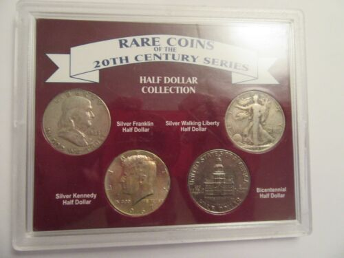 20th Century series US Half Dollar Collection 4 coins-3 silver, acrylic holder#2