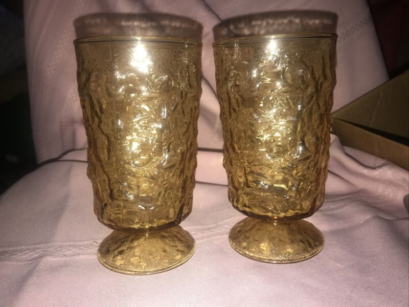 2 Anchor Hocking Crinkle Glass Amber Gold MILANO/LIDO Footed Tumblers