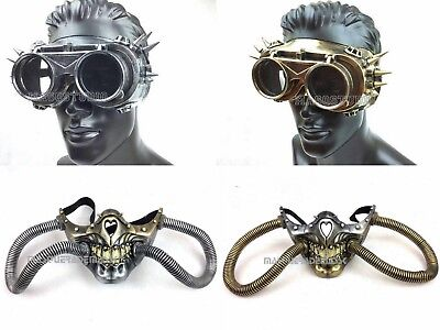 Skeleton Gas Mask (Steampunk Skeleton Respirator Rivet Vintage Goggles Skull gas mask & pipes)
