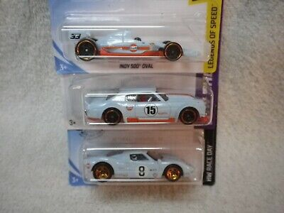 512 Hot Wheels Blue White Gulf Oil 3 Car Lot 2013 70 Chevelle 18 Indy Ford GT-40