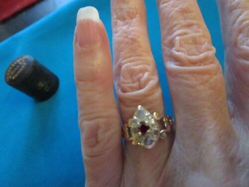 Antique Georgian 15k Rose Gold Rose Cut Diamond Ruby Heart Ring