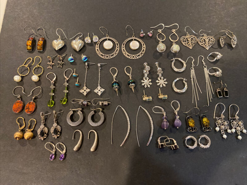Sterling Silver LOT OF 34 PAIRS  EARRINGS WITH STONES