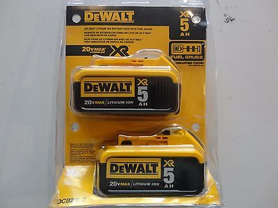DEWALT DCB205-2 20V 20 Volt Lithium Ion 5.0 AH Battery Packs New In Package NIP
