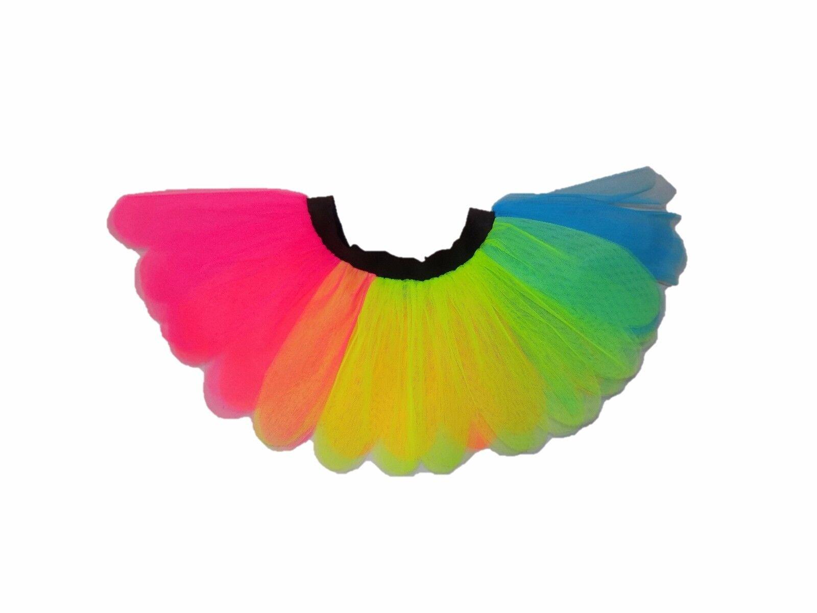 I Love 90s Neon Rainbow Tutu Skirt 90 S Flo Fancy Dress T