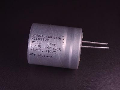 401xe1327 Cornell Dubilier Capacitor 63v 3200 Uf F -10 To 75 Radial Nos