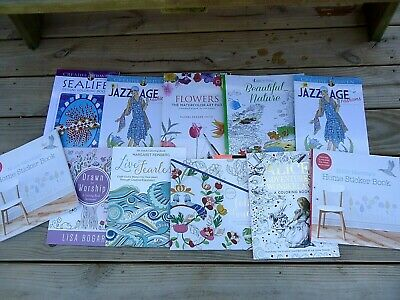 Adult Coloring Books Home Stickers Lot of 11 Books Relaxation Stress Relief Fun - Adult Sticker Book