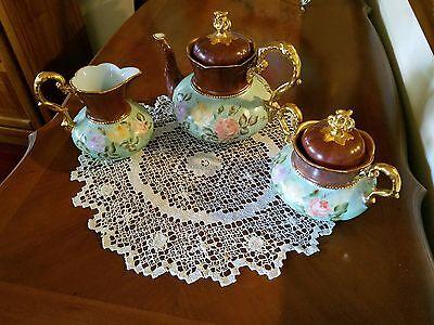 German Hand Painted Rose Gold Tea Coffee Chocolate Pot /Creamer/ Sugar Bowl Set.