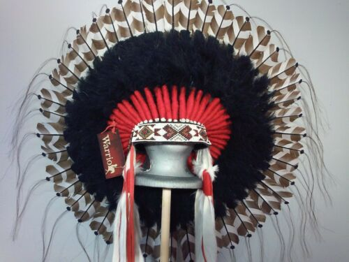 Native American Guardian War Bonnet Feather Headdress - Black