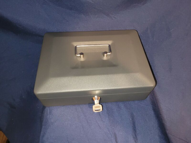 Metal Money Cash Box with Key and Tray
