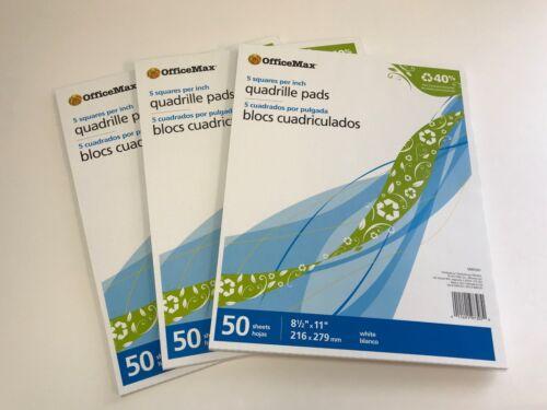 "3x Graph Paper 5 Quadrille Pads 5 Squares per Inch, 8-1/2"" x 11"", 50 Sheets Each"