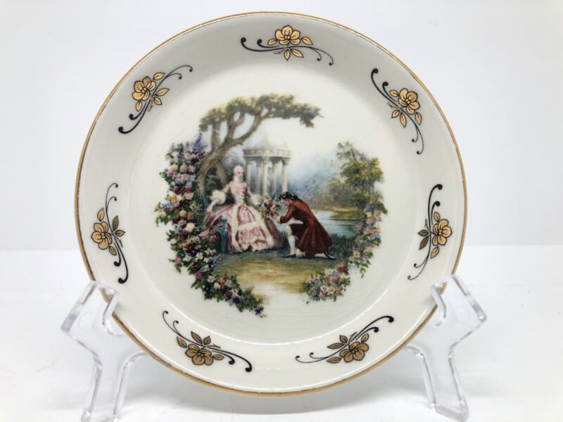 Vintage Lord Nelson Courting Couple Trinket Dish Ring Dish Gold Trim England