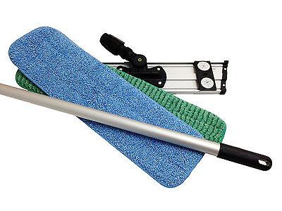 """18"""" MaximMart COMBO Microfiber Mop Kit - Mop Frame, Telescopic Pole, 2 Mop Pads"""