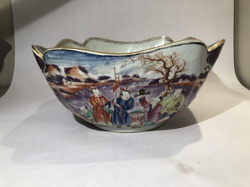 RARE! 18th C., Large Chinese Export Famille Rose Scalloped Porcelain Bowl - Gilt