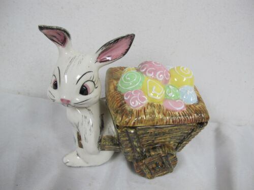VINTAGE CERAMIC  EASTER BUNNY RABBIT WITH WAGON CART OF EGGS