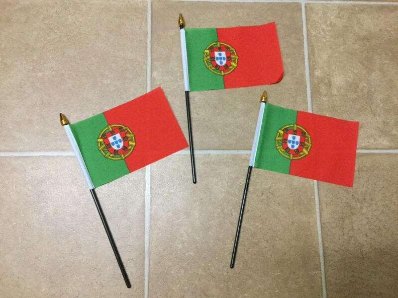 "3 X Portugal Hand Waving Flags 6"" X 4"""