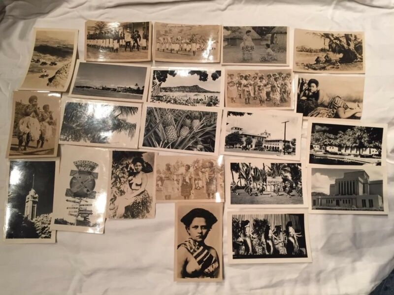 1940s vtg HAWAII Men Women BLACK WHITE PHOTOS. US Navy Photographs. 22 PICTURES