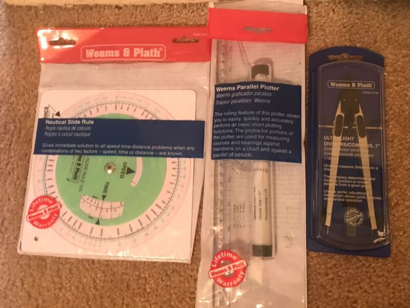 Weems & Plath Navigation Charting Tools - Compass, Parallel Plotter, Slide Rule