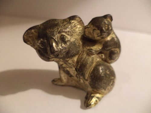 "UNIQUE 1 1/2"" VINTAGE/ANTIQUE KOALA BEAR AND BABY METAL FIGURINE MINIATURE"