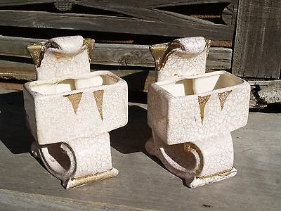 Vintage Bookend Pottery Planters - Crazing/Crackle Finish With Gold Highlights  ()