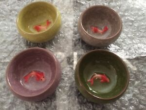 Brand new Color ice crack glaze tea cups with 3D fish