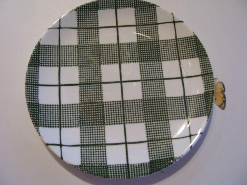 DINNERWARE Hand-Etched Original Heather Plaid Underglaze Small Plate Green.