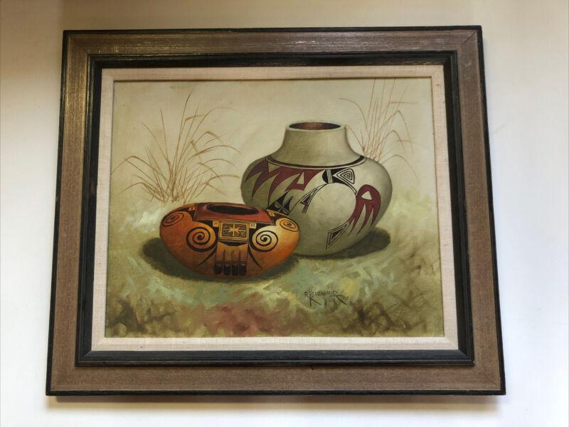 Robert Yellowhair Navajo Original Oil Painting Pottery 1974