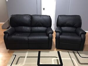 REDUCED! New Black Reclining Love Seat and Chair Set!!