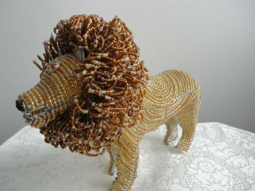 Beaded Lion Animal Figurine Art Sculpture, GrassRoots by Beadworx