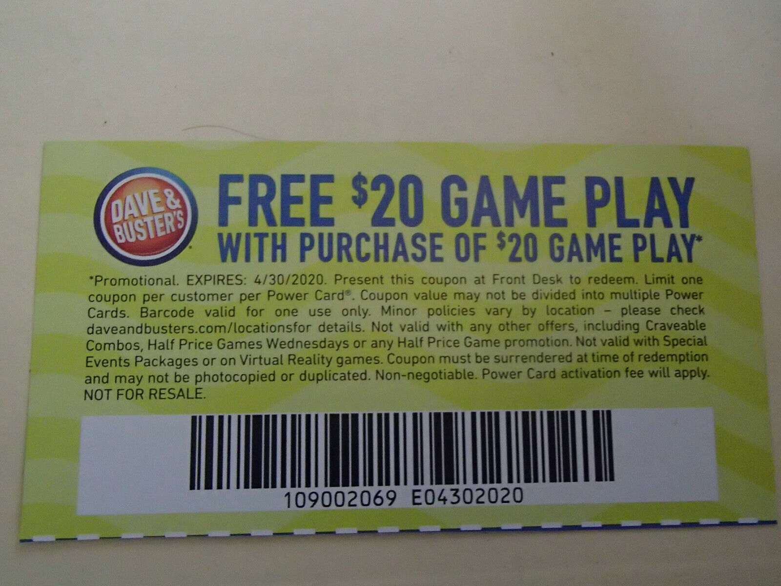 7 Dave And Busters 20 Gameplay With Same Purchase Powercard Expires 04/30/2020 - $4.00