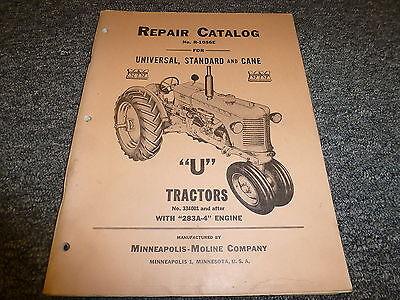 Minneapolis Moline U Row Crop Tractor W 283a-4 Engine Parts Catalog Manual Book