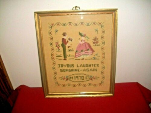 VTG BLACK AMERICANA NEEDLEPOINT SAMPLER~1970~JOYUS*LAUGHTER*SUNSHINE~FRAMED